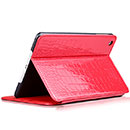 Etui en Cuir Apple iPad Mini 3 Crocodile Housse Cover - Rouge