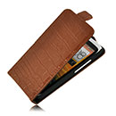 Etui en Cuir HTC One SC T528d Crocodile Housse Cover - Brown