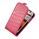 Etui en Cuir HTC One SC T528d Crocodile Housse Cover - Rose Chaud