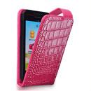 Etui en Cuir Huawei Ascend G330C G330D U8825D Crocodile Housse Cover - Rose Chaud