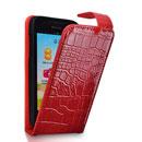 Etui en Cuir Huawei Ascend G330C G330D U8825D Crocodile Housse Cover - Rouge