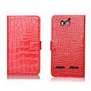Etui en Cuir Huawei Ascend G600 U8950D Crocodile Housse - Rouge