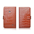 Etui en Cuir Nokia Lumia 520 Crocodile Housse Cover - Brown