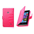 Etui en Cuir Nokia Lumia 520 Crocodile Housse Cover - Rose Chaud