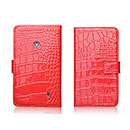 Etui en Cuir Nokia Lumia 520 Crocodile Housse Cover - Rouge