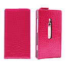 Etui en Cuir Nokia Lumia 800 Crocodile Housse Cover - Rose Chaud