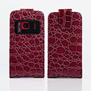 Etui en Cuir Nokia N8 Crocodile Housse Cover - Brown