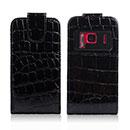 Etui en Cuir Nokia N8 Crocodile Housse Cover - Noire