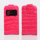 Etui en Cuir Nokia N8 Crocodile Housse Cover - Rose Chaud