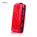 Etui en Cuir Nokia N8 Crocodile Housse Cover - Rouge
