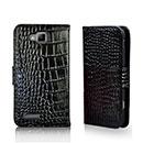 Etui en Cuir Samsung Ativ S i8750 Crocodile Housse Cover - Noire