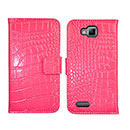 Etui en Cuir Samsung Ativ S i8750 Crocodile Housse Cover - Rose Chaud