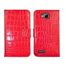 Etui en Cuir Samsung Ativ S i8750 Crocodile Housse Cover - Rouge
