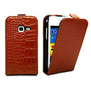 Etui en Cuir Samsung Galaxy Ace Duos S6802 Crocodile Housse Cover - Brown