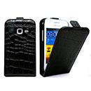 Etui en Cuir Samsung Galaxy Ace Duos S6802 Crocodile Housse Cover - Noire