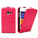 Etui en Cuir Samsung Galaxy Ace Duos S6802 Crocodile Housse Cover - Rose Chaud