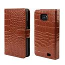 Etui en Cuir Samsung Galaxy S2 Plus i9105 Crocodile Housse Cover - Brown