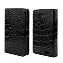 Etui en Cuir Samsung Galaxy S2 Plus i9105 Crocodile Housse Cover - Noire