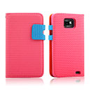 Etui en Cuir Samsung Galaxy S2 Plus i9105 Dot Housse Cover - Rose Chaud