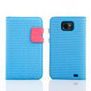 Etui en Cuir Samsung i9100 Galaxy S2 Dot Housse Cover - Bleu