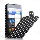 Etui en Cuir Samsung i9100 Galaxy S2 Dot Housse Cover - Noire
