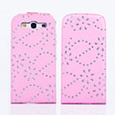 Etui en Cuir Samsung i9300 Galaxy S3 Bling Housse - Rose