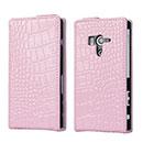 Etui en Cuir Sony Xperia Acro S LT26w Crocodile Housse Cover - Rose