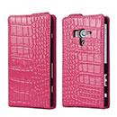 Etui en Cuir Sony Xperia Acro S LT26w Crocodile Housse Cover - Rose Chaud