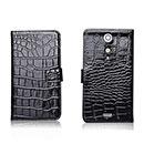 Etui en Cuir Sony Xperia GX LT29i Crocodile Cover Housse - Noire