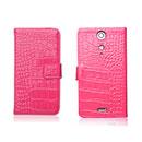 Etui en Cuir Sony Xperia GX LT29i Crocodile Cover Housse - Rose Chaud