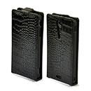 Etui en Cuir Sony Xperia GX LT29i Crocodile Housse Cover - Noire
