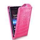 Etui en Cuir Sony Xperia GX LT29i Crocodile Housse Cover - Rose Chaud