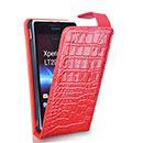 Etui en Cuir Sony Xperia GX LT29i Crocodile Housse Cover - Rouge