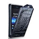 Etui en Cuir Sony Xperia GX LT29i Crocodile Housse - Noire