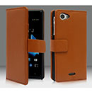 Etui en Cuir Sony Xperia J ST26i Housse - Brown