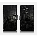 Etui en Cuir Sony Xperia SP M35H Crocodile Housse Cover - Noire