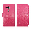 Etui en Cuir Sony Xperia SP M35H Crocodile Housse Cover - Rose Chaud
