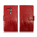 Etui en Cuir Sony Xperia SP M35H Crocodile Housse Cover - Rouge