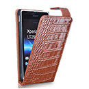Etui en Cuir Sony Xperia TX LT29i Crocodile Housse Cover - Brown