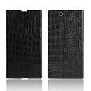 Etui en Cuir Sony Xperia Z Ultra XL39h Crocodile Housse Cover - Noire