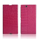 Etui en Cuir Sony Xperia Z Ultra XL39h Crocodile Housse Cover - Rose Chaud