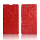 Etui en Cuir Sony Xperia Z Ultra XL39h Crocodile Housse Cover - Rouge